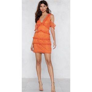 Orange Crochet Cold Shoulder Tassel Mini Dress